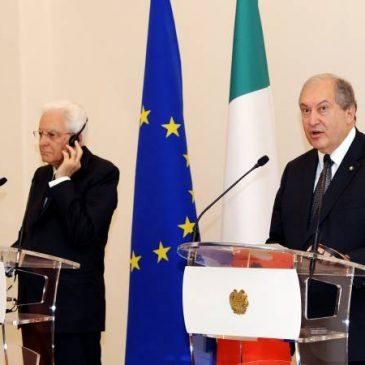 El presidente de Italia llegó a Armenia en visita de estado