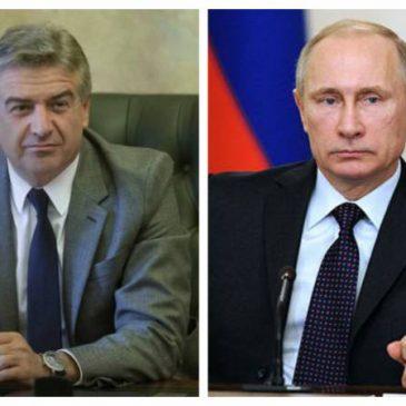 Karen Karapetyan y Vladimir Putin mantuvieron conversación telefónica